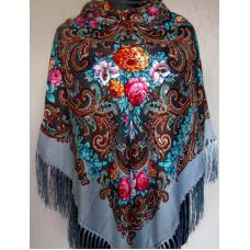 Украинский шерстяной платок 48T Серый