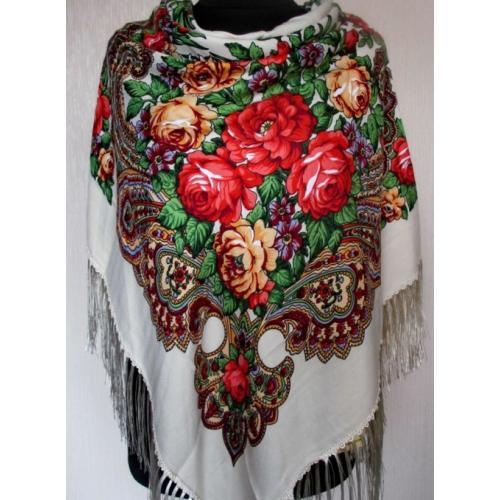 Национальный женский платок 49T Белый