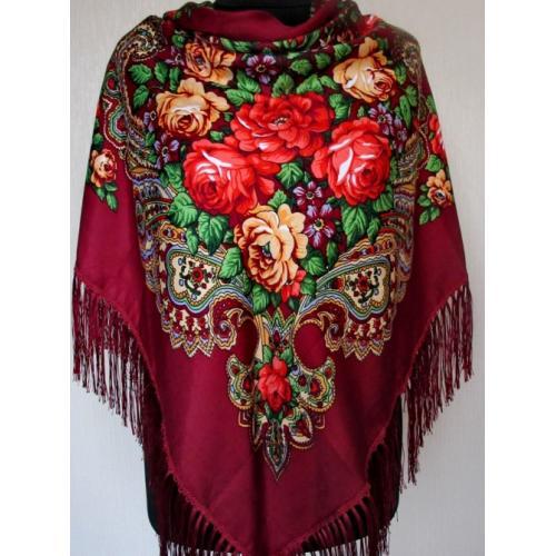 Украинский шерстяной платок 52T Бордовый