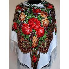 Шерстяной украинский платок 56T Белый