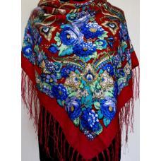 Национальный женский платок 578T Бордовый