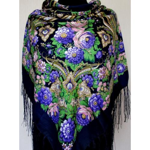 Женская шаль в украинском стиле 579T Темно-синий