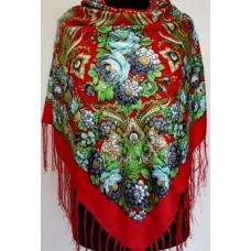 Женская шаль в украинском стиле 583T Красный