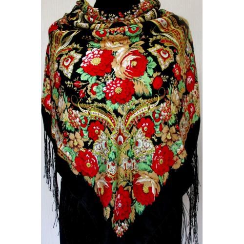 Женский платок в этно стиле 585T Черный