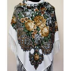 Женский платок в украинском стиле 181T Белый
