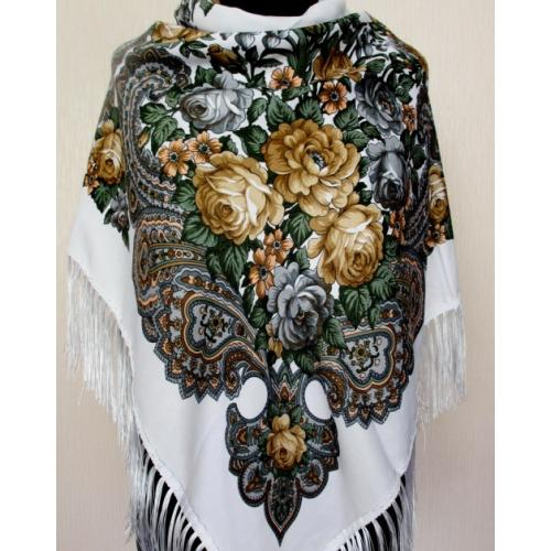 Женский платок в украинском стиле TK18-1 Белый