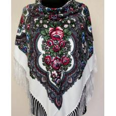 Женский шерстяной платок в этно стиле 172T Белый