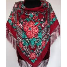 Украинский шерстяной платок Богдана 734T Красный