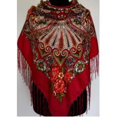 Женский платок в украинском стиле 589T Красный
