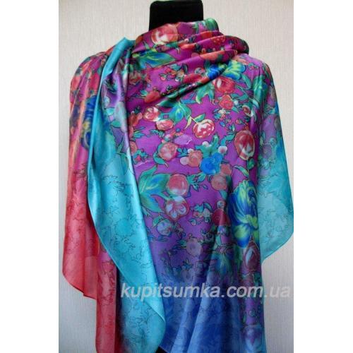 Женский цветной палантин из натурального шёлка 32Т0