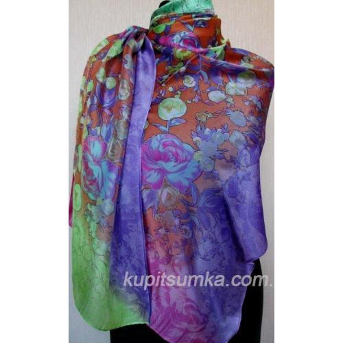 Женский цветной палантин из натурального шёлка 32Т2