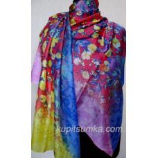 Женский цветной палантин из натурального шёлка 32Т3