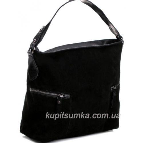 Женская сумка из натуральной замши чёрного цвета с двумя карманами