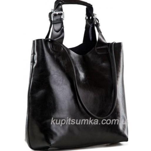 Женская кожаная сумка шоппер стиль Zara 811N Черный