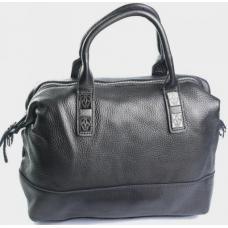 Кожаная сумка серо-серебристого цвета