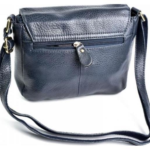 Классическая сумка-мессенджер из натуральной мягкой кожи синего цвета
