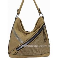 Вместительная женская сумка из кожзаменителя бежевого цвета 71Д02-2