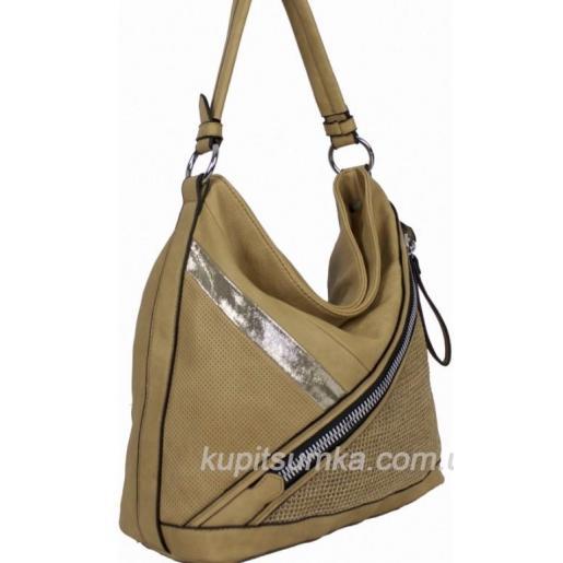Женская сумка через плечо бежевая из кожзама 71D02-21