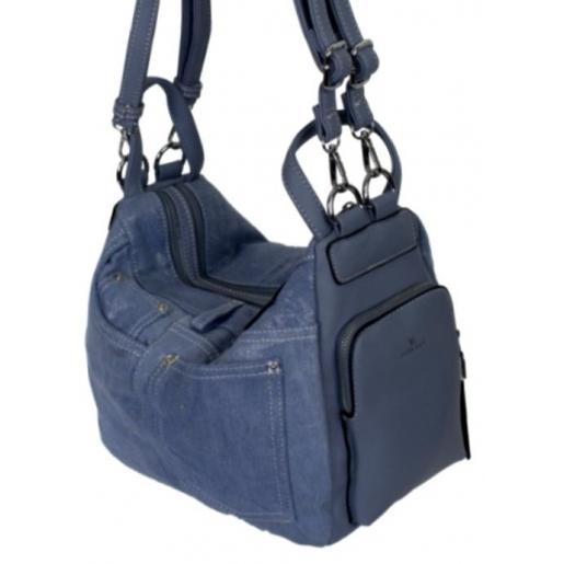 Женская сумка-рюкзак из денима 87D59 -1 Голубой