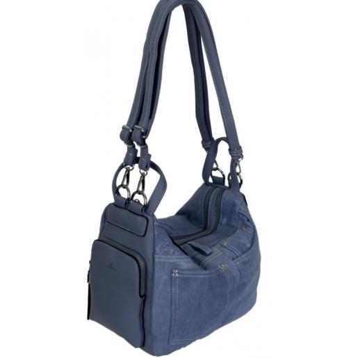 Женская сумка-трасформер из голубого денима и кожзаменителя
