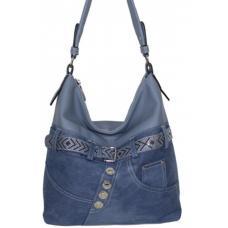 Женская сумка из голубого денима и кожзаменителя на длинной ручке