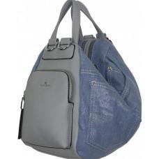 Сумка-рюкзак из денима и кожзаменителя 87D59 Голубой