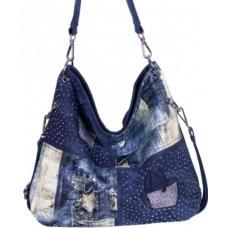 Вместительная женская сумка из джинсовой ткани на длинной ручке