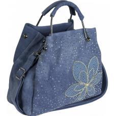 Интригующая женская сумка из джинсовой ткани украшенная стразами и бисером