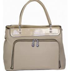 Бежевая сумка из кожзаменителя с передним карманом