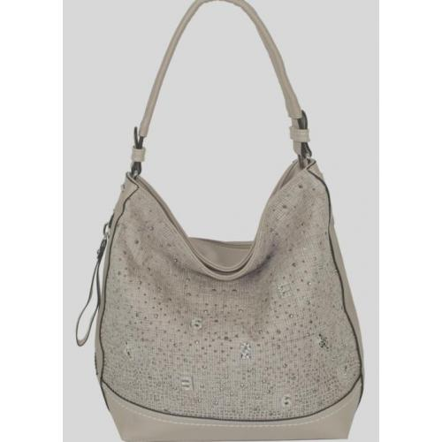 Женская темно-бежевая сумка из кожзаменителя