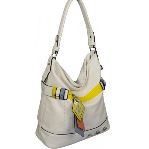 Женская сумка из белого кожзаменителя 87D211
