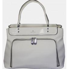 Деловая белая женская сумка из кожзаменителя с отделкой лаком