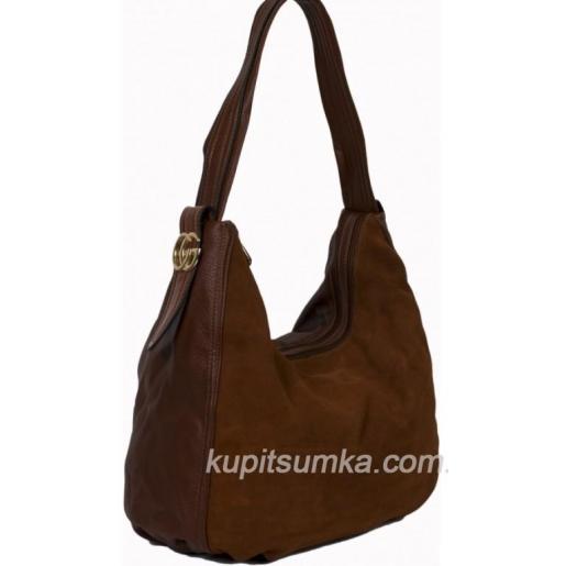 Женская сумка из натуральной замши коричневого цвета на два отделения 77Д40