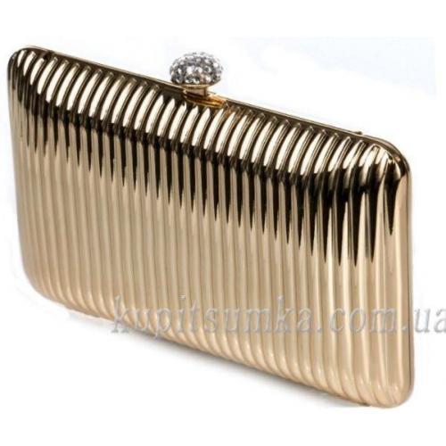 Оригинальный женский клатч из рифленого золотистого пластика