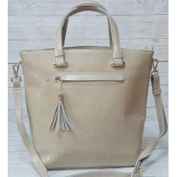 Женская сумка из натуральной кожи Бежевый