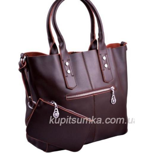 Женская сумка с косметичкой, натуральная кожа коричневого цвета