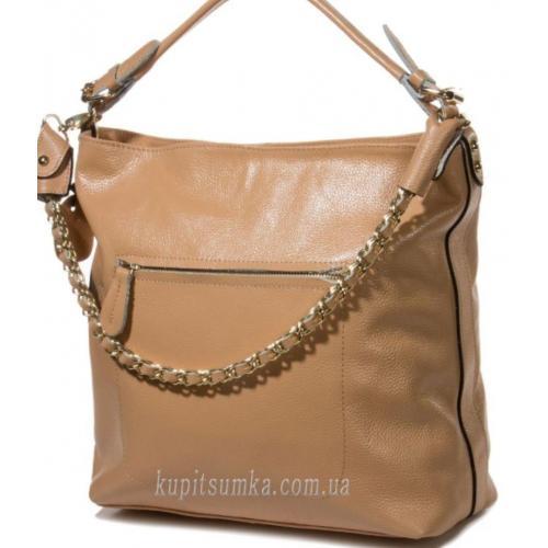Женская бежевая сумка на плечо из натуральной кожи