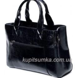 Женская сумка чёрного цвета с передним карманом