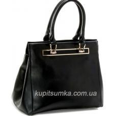 Симпатичная женская сумка из натуральной кожи чёрного цвета