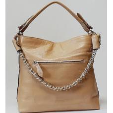 Женская бежевая сумка на плечо из натуральной кожи 93U251A