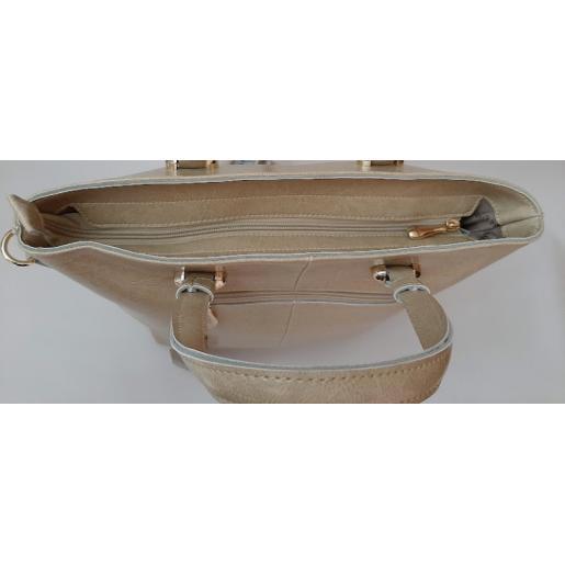 Женская кожаная сумка бежевая 447U3