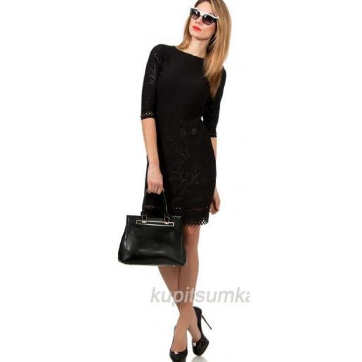 Женская сумка из натуральной кожи чёрного цвета