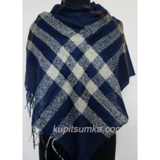 Темно-синий женский шерстяной платок в крупную клетку