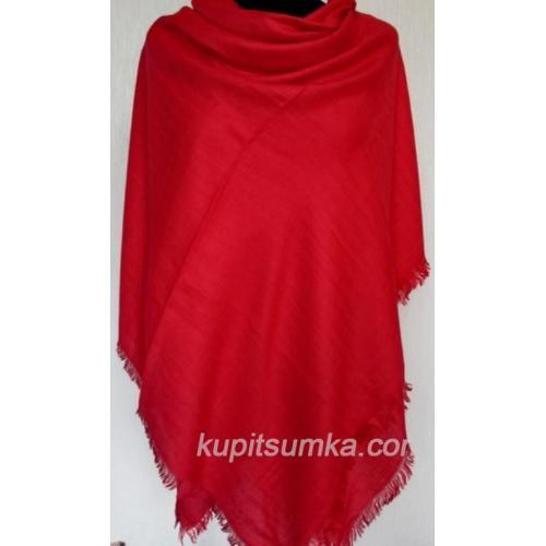 Теплый однотонный платок красный 29Т2