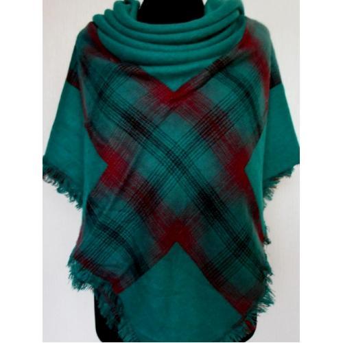 Женский теплый платок KT194-4 Бирюзовый
