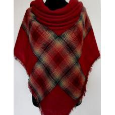 Женский теплый платок KT197-1 Бордовый