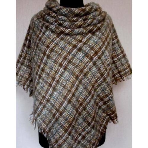 Стильный тёплый шерстяной платок для женщин, крупная клетка 31Т7