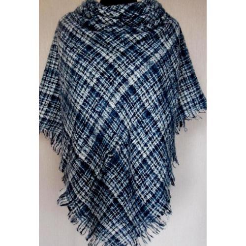 Стильный тёплый шерстяной платок для женщин, крупная клетка 32Т1