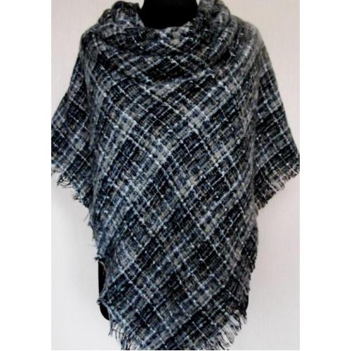 Женский теплый платок в клетку 183-3