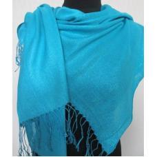 Женский голубой палантин из вискозы и шелка